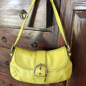 Coach lime green leather purse